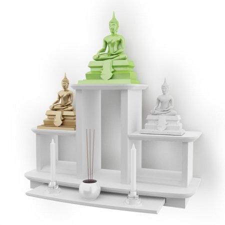 หิ้งพระหมู่ 3 Buddha Shelf สี White
