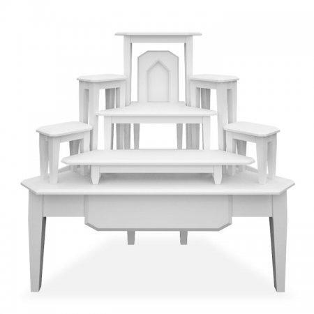 โต๊ะหมู่บูชาหมู่ 7 แบบเข้ามุม Buddha Bless White