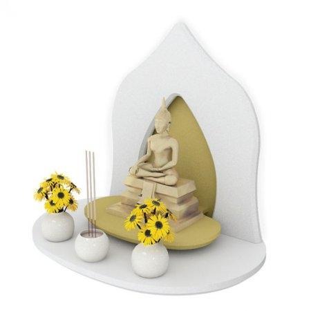 หิ้งพระหมู่ 1 Mini Buddha Shelf สี White