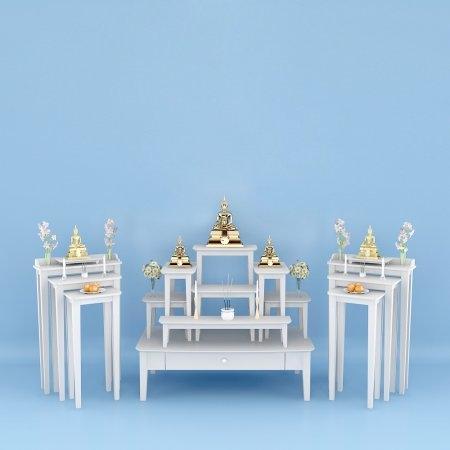 Set ห้องพระชุดโต๊ะหมู่ 7 และโต๊ะไตรคู่ สีขาว