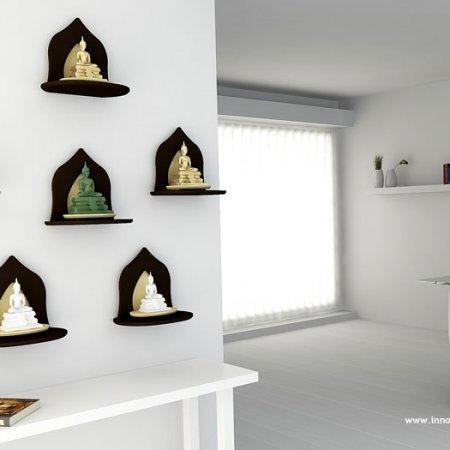 หิ้งพระหมู่ 1 Mini Buddha Shelf สี Espresso