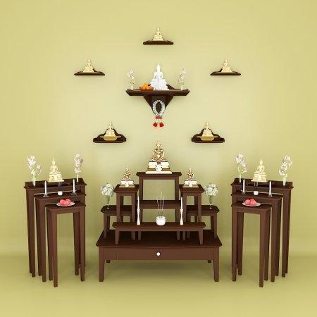 ชุดห้องพระ สุขใจทวีคูณ หมู่ 7 และ โต๊ะไตรคู่ สี Espresso
