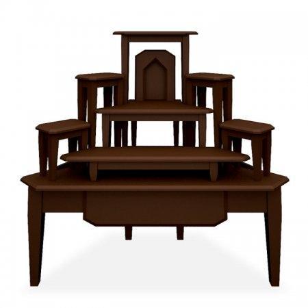 โต๊ะหมู่บูชาหมู่ 7 แบบเข้ามุม Buddha Bless สี Espresso