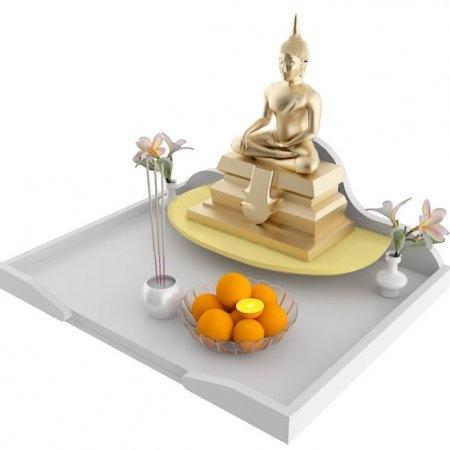 หิ้งบูชาพระ Maxi Buddha Tray สี White
