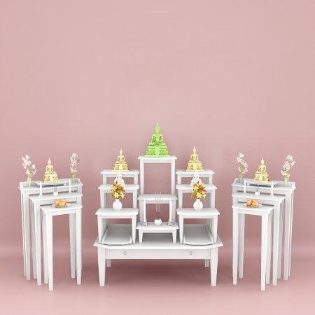 Set ห้องพระ ชุดโต๊ะหมุ่ 9 และโต๊ะไตรคู่ สี White
