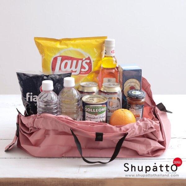 Shupatto Compact Bag - Tote Large - Hagire - pink/gray