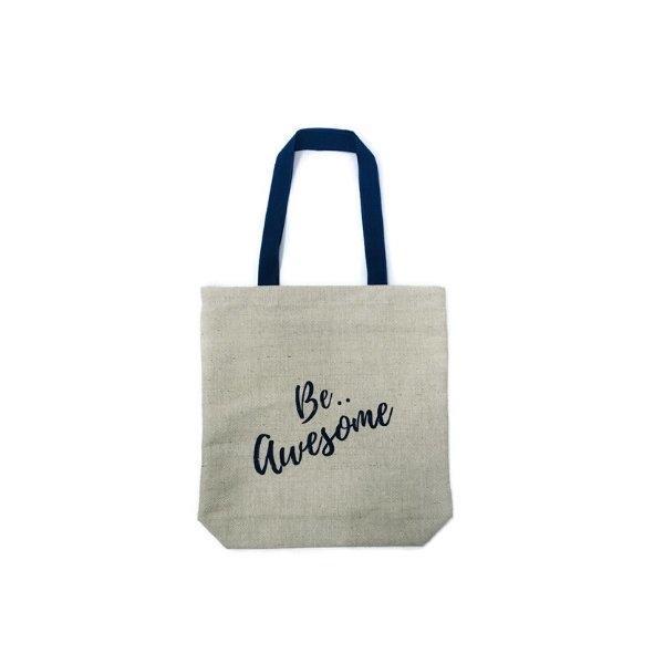 กระเป๋าสะพาย ผ้ากระสอบเนื้อละเอียด สกรีน สีน้ำเงินเข้ม (Be..Awesome)