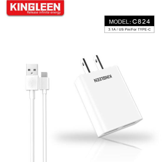 KINGLEEN Model : C824 Dual USB Port Charger Suit for Type-C Cable
