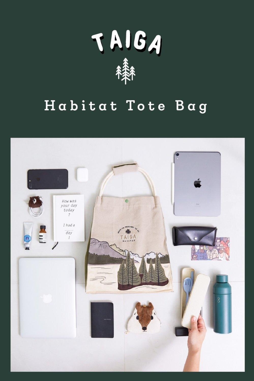 Habitat Tote bag  | Taiga กระเป๋าแคนวาสลายป่าสน