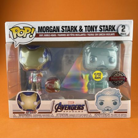 Funko POP Hologram Tony Stark & Morgan with Helmet Avenger Endgame 2 Pack