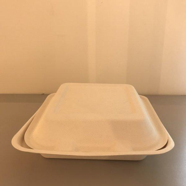 (P_PECO-0017:1580) กล่อง3ช่องชานอ้อย 750ml (Three compartments tray )