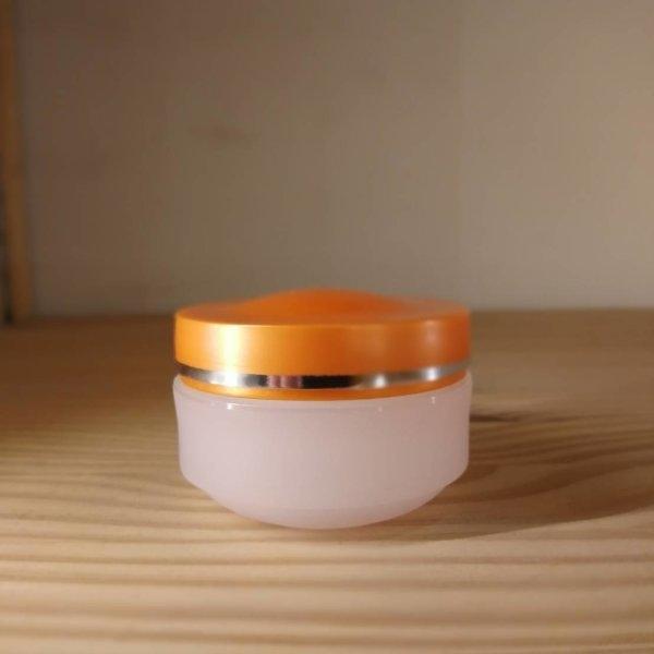 (P_JPL-0002:152) กระปุก OLAY สีใสฝาส้มขอบเงิน 30g (Clear plastic jar+orange color silver line cap )