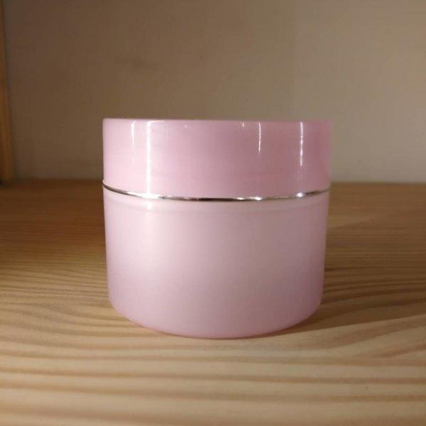 (JPL-0015:157) กระปุกทรงกระบอก PP สีชมพูขอบเงิน 120g (Pink color silver line plastic jar)