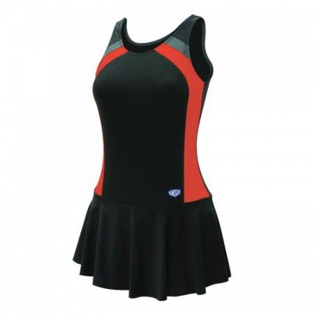 ชุดว่ายน้ำหญิงแบบกระโปรง1 ท่อน(สีดำแดง) รหัส:342632