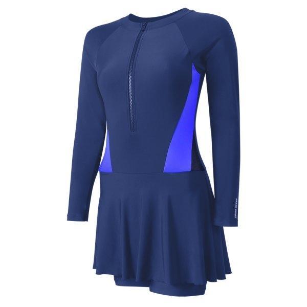 ชุดว่ายน้ำหญิง 1 ท่อน แบบเสื้อแขนยาว กางเกงกระโปรง รหัส : 342670 (สีน้ำเงิน)