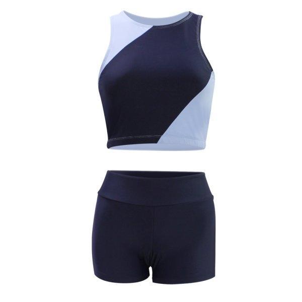 ชุดว่ายน้ำหญิง เสื้อครอป กางเกงขาสั้น รหัส : 342671 (สีฟ้า)