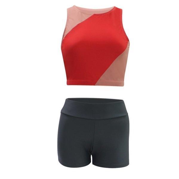 ชุดว่ายน้ำหญิง เสื้อครอป กางเกงขาสั้น รหัส : 342671 (สีโอรส)