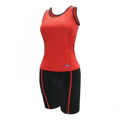 ชุดว่ายน้ำหญิงแบบกางเกง 2 ท่อน(สีแดง) รหัส:342634
