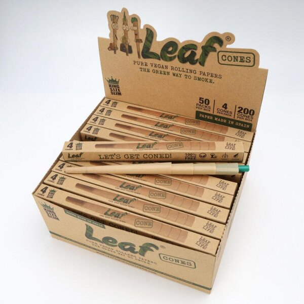 กระดาษมวน LEAF Cones King Size Slim - 4 pcs./ 50 pack