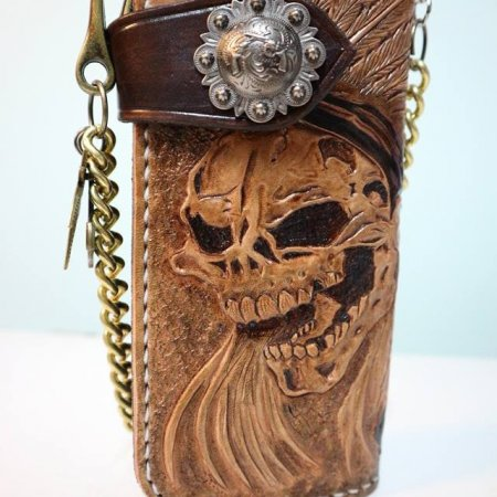 Mens Tan Carved Long Leather Wallet With Biker Trucker Chain L12  free Shipping
