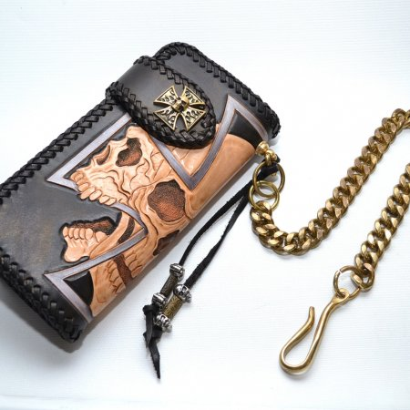 Custom Biker with carving skull Harley Leather Men's Long Wallet free Shipping