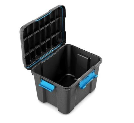 Scuba box M (black/blue clips)