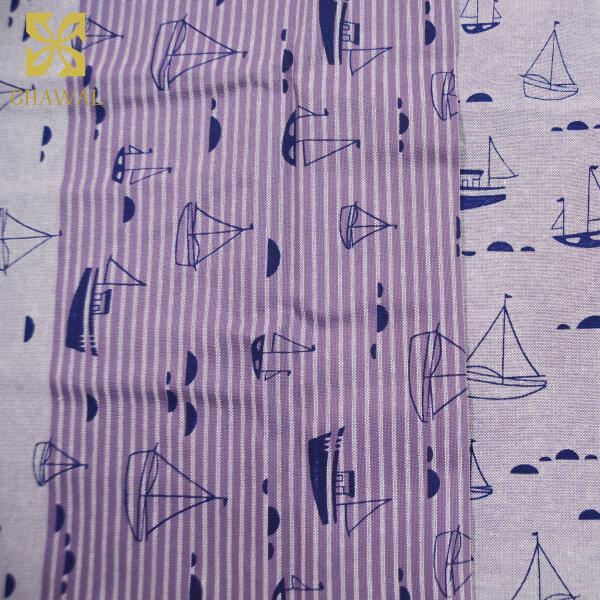 ผ้าคอตตอน ลายเรือ สีม่วง