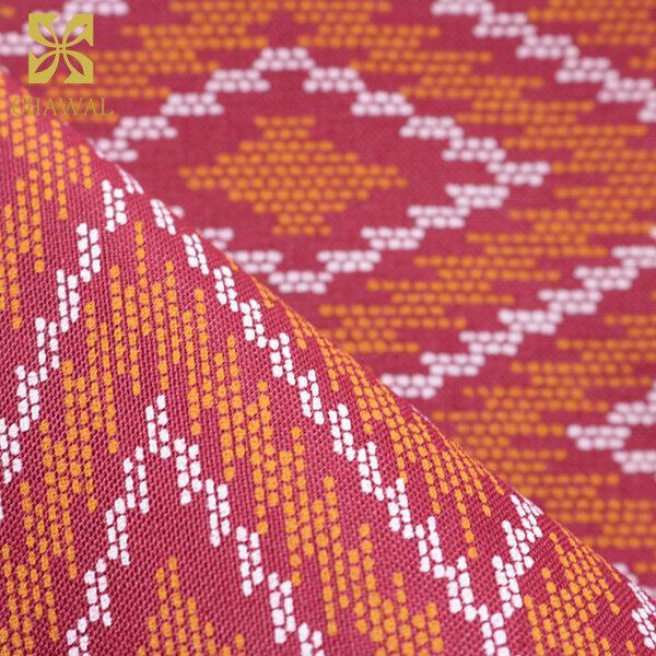 ผ้าถุงพิมพ์ลายไทย สีอิฐแดง