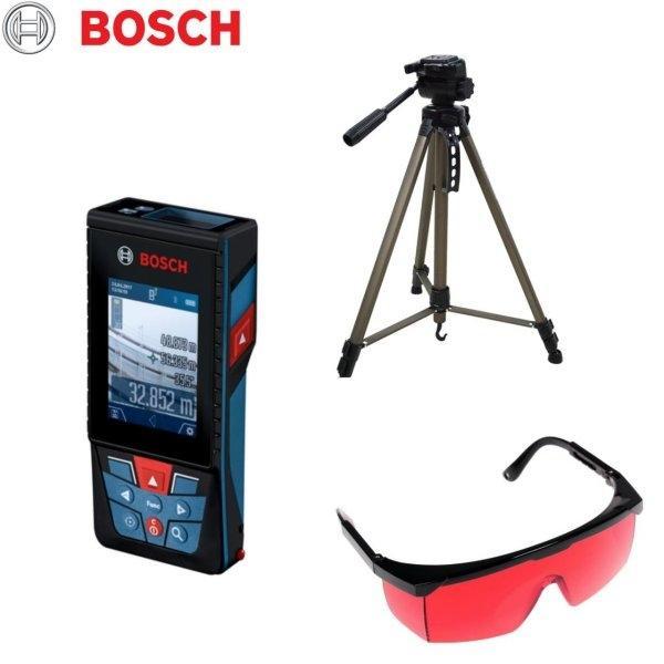 (สินค้าจัดชุด) เครื่องวัดระยะเลเซอร์ BOSCH รุ่น GLM150C + ขาตั้ง WT3520 + แว่นตาเลเซอร์ BOSCH