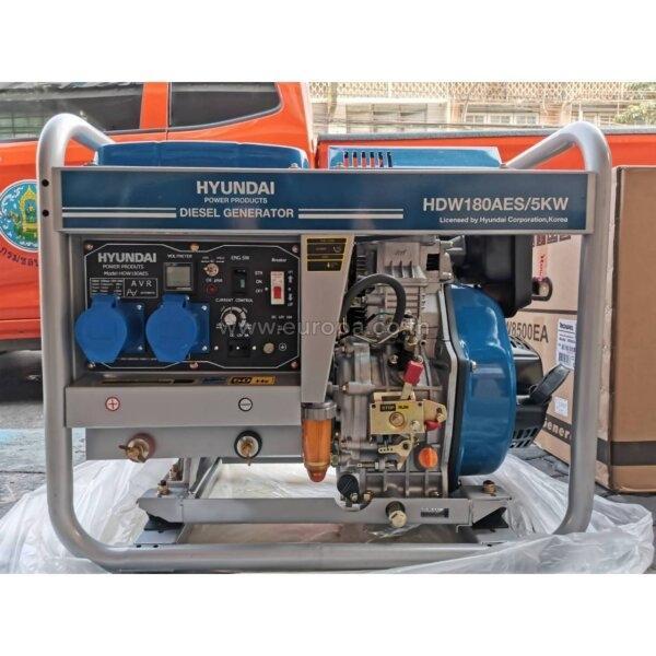 HDW180AES : เครื่องปั่นไฟพร้อมไดเชื่อม (เครื่องยนต์ดีเซล) HYUNDAI ( กุญแจสตาร์ท+เชือกดึง)