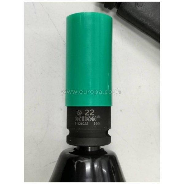ลูกบล๊อกถอดล้อแม็ก 1/2 นิ้ว เบอร์ 22 ACTION รุ่น 61126022 (หุ้ม PVC | สีเขียว)