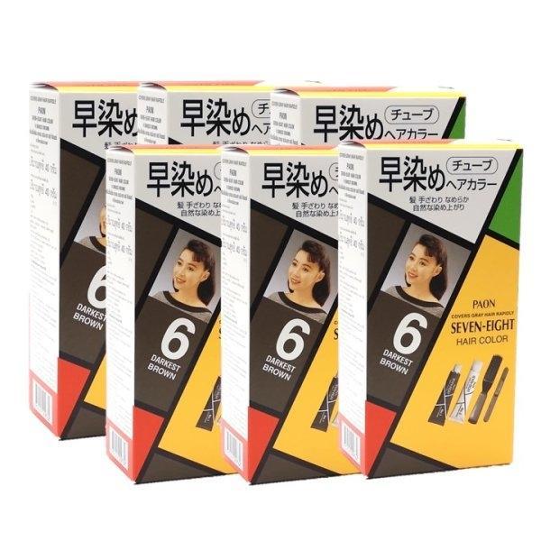 PAON SEVEN-EIGHT (พาออน) สี B6 น้ำตาลเข้มประกายดำ (6 กล่อง)