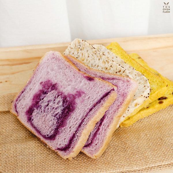 ขนมปังปอนด์ผสมหลากสี#4 (มันม่วง งาม่อน ฟักทอง)