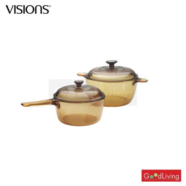 Visions หม้อแก้วทนไฟ+ฝา /หม้อด้ามทนไฟ+ฝา 4 ชิ้น รุ่น V-01-VS-312/CL (สีชา)