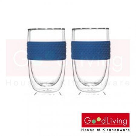 Pyrex ชุดแก้วสองชั้นพร้อมซิลิโคน 2 ชิ้น 400 ml. รุ่น PX-1108445 - สีน้ำเงิน