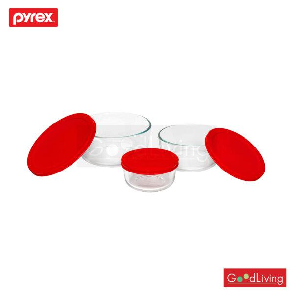 Pyrex 6Pc Round storage with red plastic cover รุ่น P-00-1075458