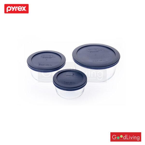 Pyrex ชุดชามแก้วพร้อมฝาสีน้ำเงินทรงกลม 6 ชิ้น รุ่น P-00-1080340 - สีน้ำเงิน