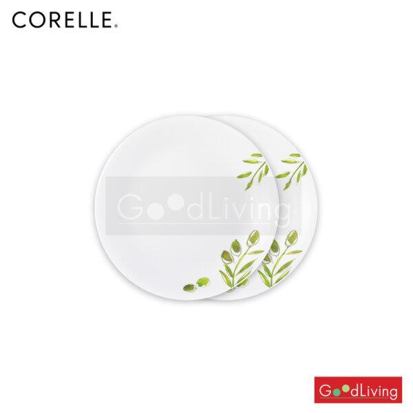 Corelle จานอาหารสีเขียวขนาด 9 นิ้ว (23 ซม.) 2 ชิ้น /C-03-108-OG-2