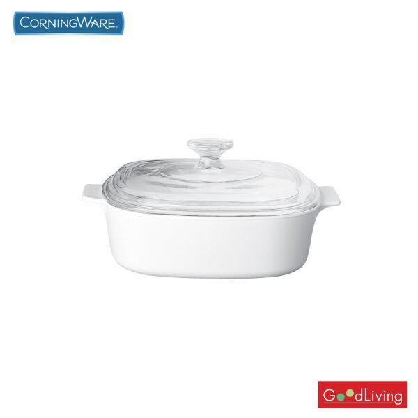 Corning ware หม้อแก้วทรงเหลี่ยมทนไฟขนาด 2 ลิตร ลาย Just White /N-02-A 2-JW