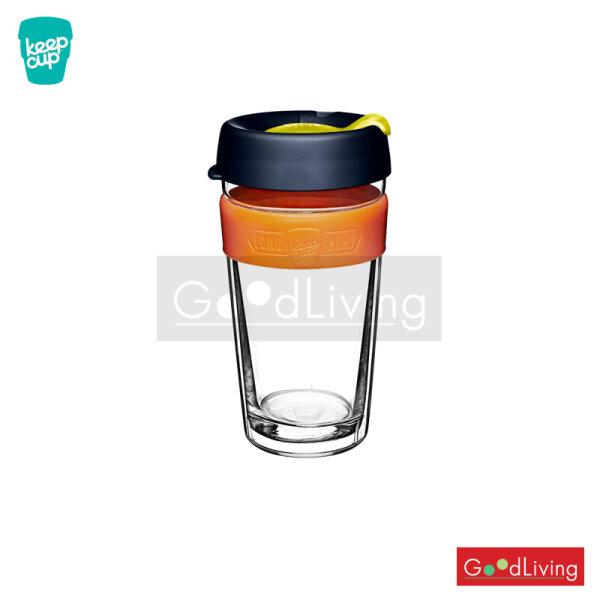 แก้ว KeepCup ใสสองชั้นฝาน้ำเงินที่จับสีส้ม-16oz/K-LPBAN16