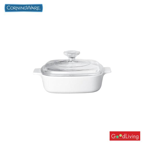 Corning ware หม้อแก้วทรงเหลี่ยมทนไฟขนาด 1 ลิตร ลาย Just White /N-02-A 1-JW