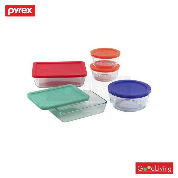 Pyrex ชุดชามแก้วถนอมอาหารพร้อมฝา 10 ชิ้น รุ่น P-00-1091198 - สีเขียว/ส้ม/น้ำเงิน/แดง