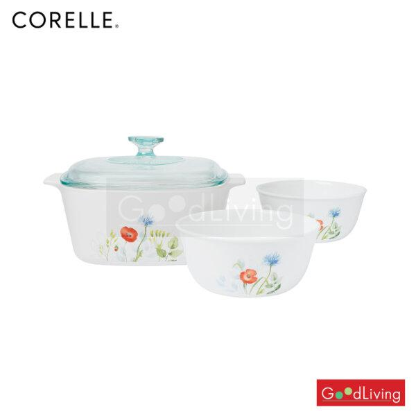 ชุดหม้อCorning ware และชามCorelle  4 ชิ้น ลายเดซี่ฟิลด์/C-03-4-DSF-D แถมถุงผ้า Corelle brands