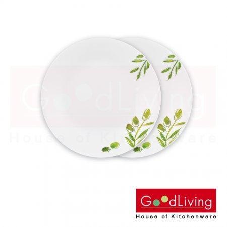 Corelle จานอาหารสีเขียว ขนาด 7 นิ้ว (18 ซม.) 2 ชิ้น/C-03-106-OG-2