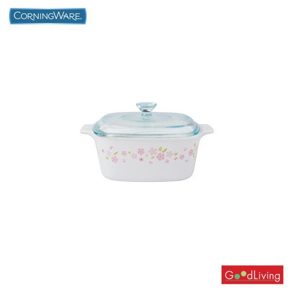 Corning ware หม้อแก้วทรงเหลี่ยมทนไฟขนาด 1.5 ลิตร ลาย Sakura /N-02-A-1.5-SR