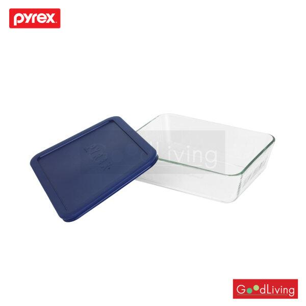Pyrex ชามแก้วพร้อมฝาทรงเหลี่ยม ขนาด 1.5 L. รุ่น P-00-6017396 - สีน้ำเงิน