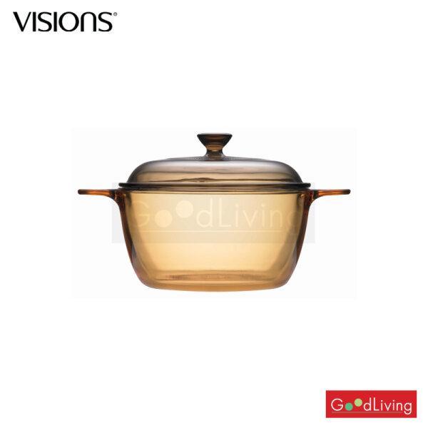 Visions หม้อแก้วทนไฟ+ฝา ขนาด 1.5 L. รุ่น V-01-VS 1.5/CL (สีชา)