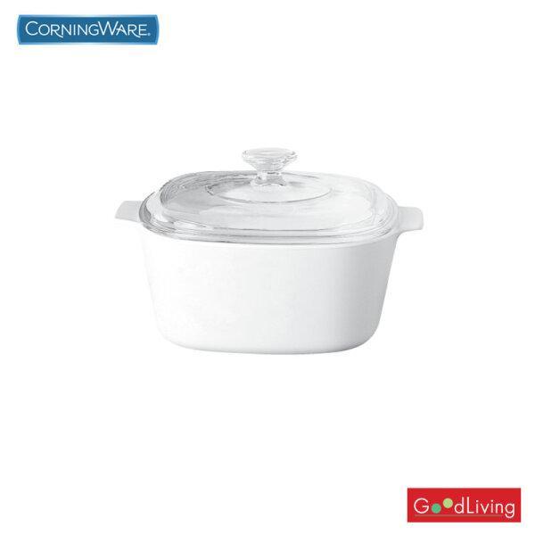 Corning ware หม้อแก้วทรงเหลี่ยมทนไฟขนาด 1.5 ลิตร ลาย Just White /N-02-A 1.5-JW