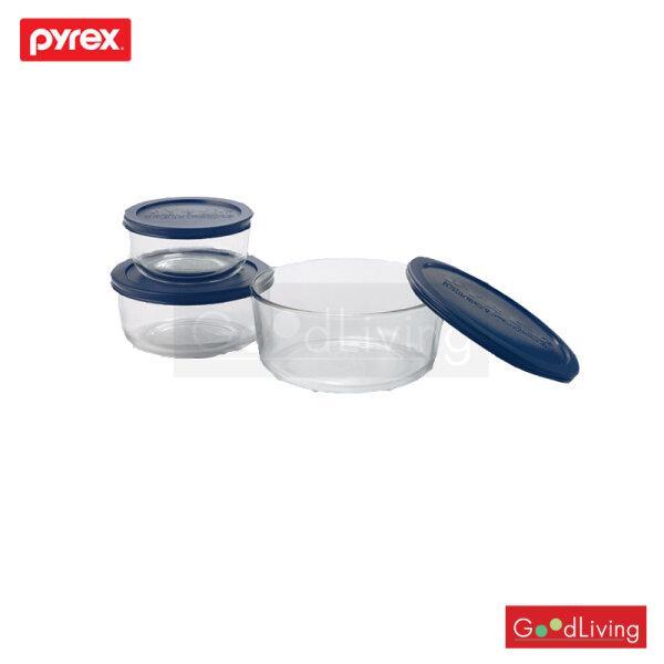 Pyrex ชุดชามแก้วพร้อมฝาทรงกลม 6 ชิ้น รุ่น P-00-7253NN - สีน้ำเงิน