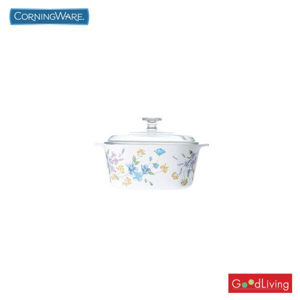 Corning ware หม้อแก้วทรงเหลี่ยมทนไฟขนาด 1 ลิตร ลาย Pastel Bouguet /N-02-A-1-93